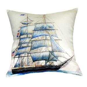 Whaling Ship No Cord Pillow 18X18