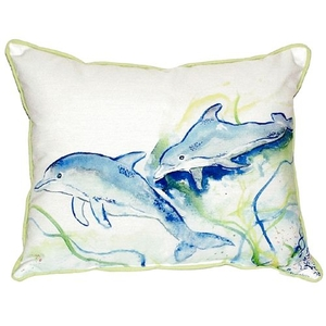 Betsy'S Dolphins Small Indoor/Outdoor Pillow 11X14