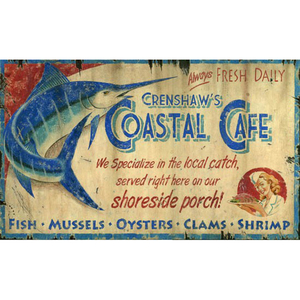 Coastal Cafe Wall Art Personalized