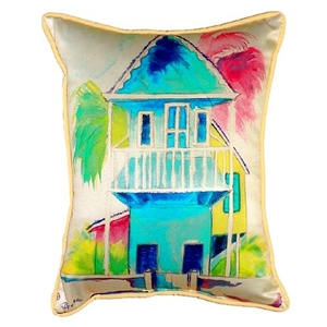 W. Palm Hut Blue Small Indoor/Outdoor Pillow 11X14