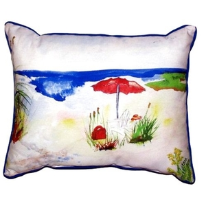 Red Beach Umbrella Small Indoor/Outdoor Pillow 11X14