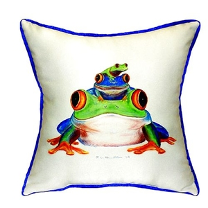 Stacked Frogs Small Indoor/Outdoor Pillow 12X12
