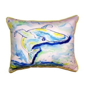Blue Whale Small Indoor/Outdoor Pillow 11X14