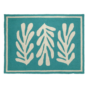 Seaweed Turquoise Border Hook Rug