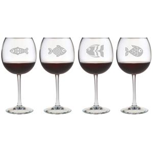 Fish Assortment Etched Stemmed Wine Glass Set
