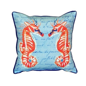 Coral Sea Horses Blue Extra Large Zippered Pillow 22X22