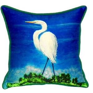 Great Egret Extra Large Zippered Pillow 22X22
