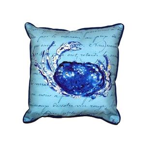 Blue Script Crab Extra Large Zippered Pillow 22X22