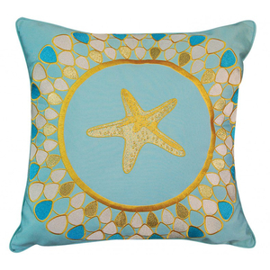 Starfish and Petals- Glacier Blue Indoor Outdoor Pillow