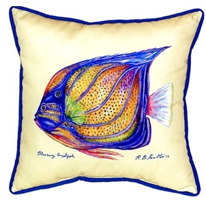 Blue Ring Angelfish - Yellow Extra Large Zippered Pillow 22X22