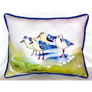 Green Sanderlings Extra Large Zippered Pillow 20X24