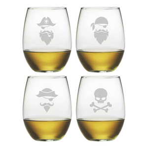 Pirate Faces Stemless Wine Glass Assortment S/4