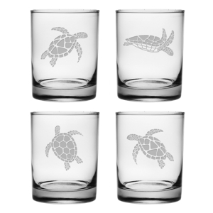 Sea Turtles Assortment Etched On The Rocks Glass (set of 4)