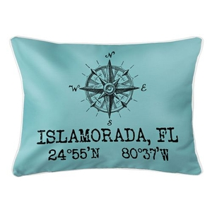 Custom Compass Rose Coordinates Lumbar Pillow - Light Blue