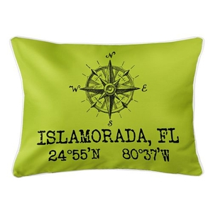 Custom Compass Rose Coordinates Lumbar Pillow - Lime
