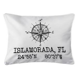 Custom Compass Rose Coordinates Lumbar Pillow - White
