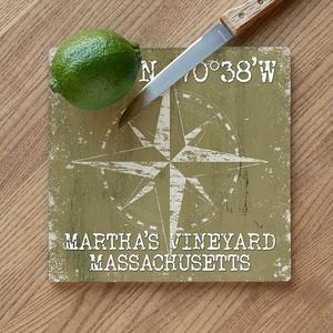 Custom Coordinates Compass Rose Cutting Board - Khaki