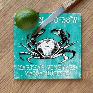 Custom Coordinates Crab Cutting Board - Sea Green