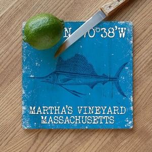 Custom Coordinates Sailfish Cutting Board - Blue