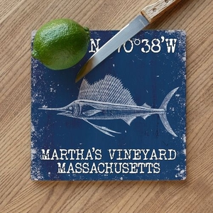 Custom Coordinates Sailfish Cutting Board - Navy