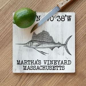 Custom Coordinates Sailfish Cutting Board - White