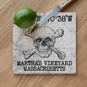 Custom Coordinates Skull & Crossbones Cutting Board - White Vintage Chart