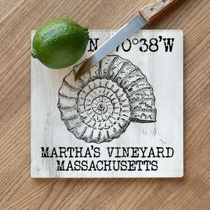 Custom Coordinates Vintage Shell Cutting Board