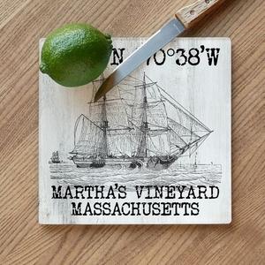 Custom Coordinates Vintage Ship Cutting Board