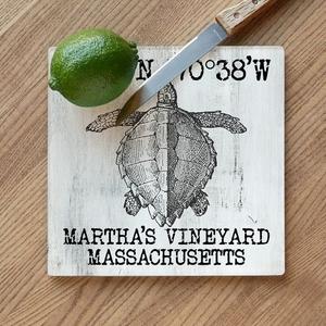 Custom Coordinates Vintage Sea Turtle Cutting Board