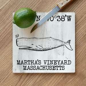 Custom Coordinates Vintage Whale Cutting Board