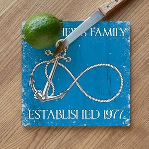 Custom Wedding Infinity Anchor Cutting Board - Blue
