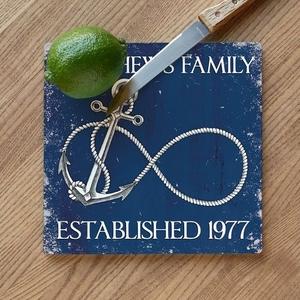 Custom Wedding Infinity Anchor Cutting Board - Navy