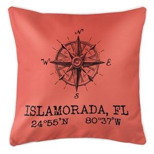 Custom Compass Rose Coordinates Pillow - Coral