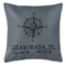 Custom Compass Rose Coordinates Pillow - Gray