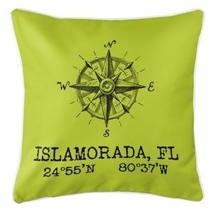 Custom Compass Rose Coordinates Pillow - Lime
