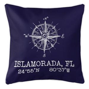 Custom Compass Rose Coordinates Pillow - Navy