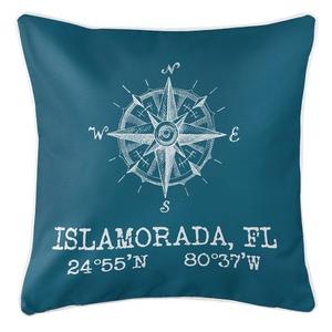 Custom Compass Rose Coordinates Pillow - Turquoise