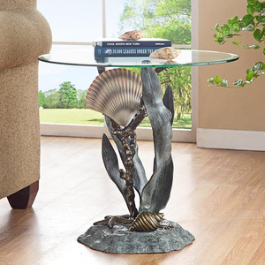 Shells And Seagrass Glass Top End Table