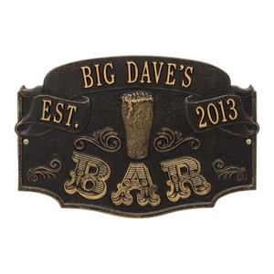 Personalized Established Bar Plaque, Black / Gold