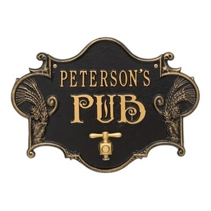 Custom Hops & Barley Beer Pub Plaque , Black /  Gold