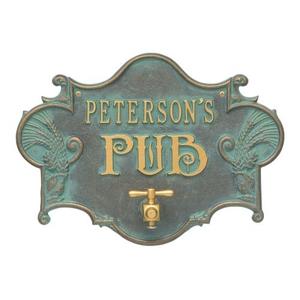 Personalized Hops & Barley Beer Pub Plaque , Bronze /Verdigris