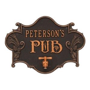 Custom Hops & Barley Beer Pub Plaque , Antique Copper