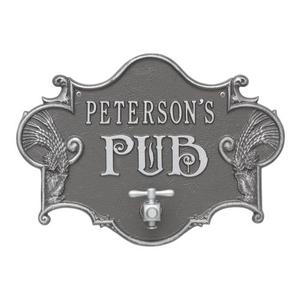 Custom Hops & Barley Beer Pub Plaque , Pewter / Silver