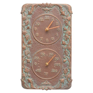 Acanthus Indoor Outdoor Wall Clock & Thermometer , Copper Verdigris