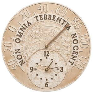 """Celestial 14"""" Indoor Outdoor Wall Clock & Thermometer, Weathered Limestone"""
