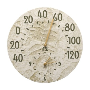 """Sumac 14"""" Indoor Outdoor Wall Clock & Thermometer, Moss Green"""