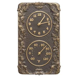 Acanthus Indoor Outdoor Wall Clock & Thermometer, French Bronze