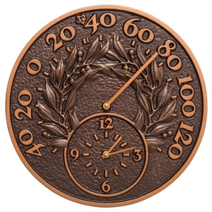 """Bay Leaf 14"""" Indoor Outdoor Wall Clock & Thermometer, Antique Copper"""
