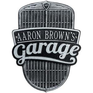Car Grille Garage Plaque, Black/Silver, Black/Silver