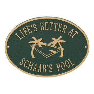 Personalized Swimming Pool Party Plaque, Green / Gold